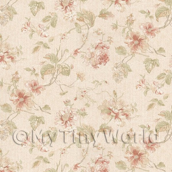 1/12 Scale Dolls House Miniatures  | Pack of 5 Dolls House Dark Pink Mixed Flower Design Wallpaper Sheets