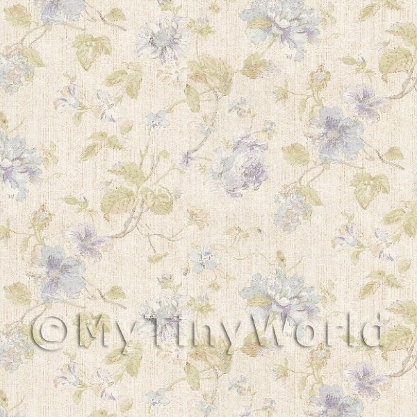 Dolls House Miniature  | Dolls House Miniature Pale Blue Mixed Flower Design Wallpaper