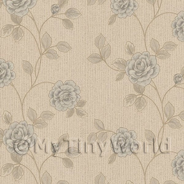 1/12 Scale Dolls House Miniatures  | Pack of 5 Dolls House Powder Blue Climbing Rose Wallpaper Sheets