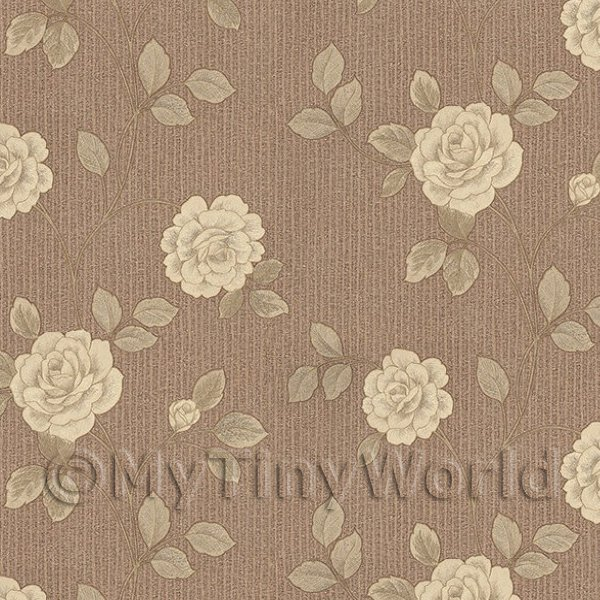 1/12 Scale Dolls House Miniatures  | Pack of 5 Dolls House Cream Climbing Rose Wallpaper Sheets