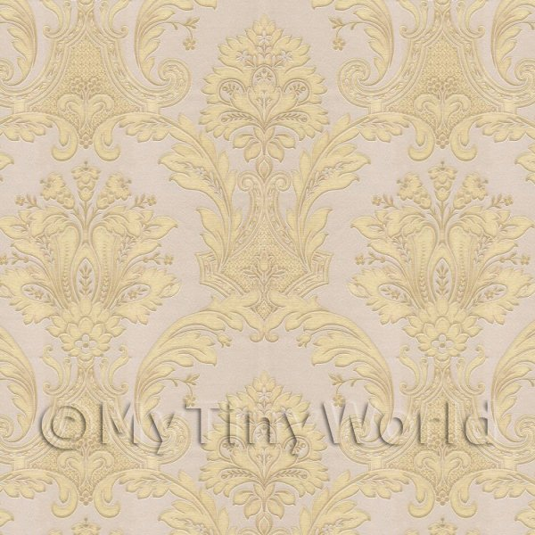 Pack of 5 Dolls House Gold Damask Style Wallpaper Sheets