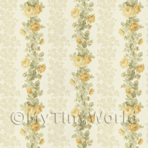 Pack of 5 Dolls House Yellow Climbing Rose Stripe Wallpaper Sheets