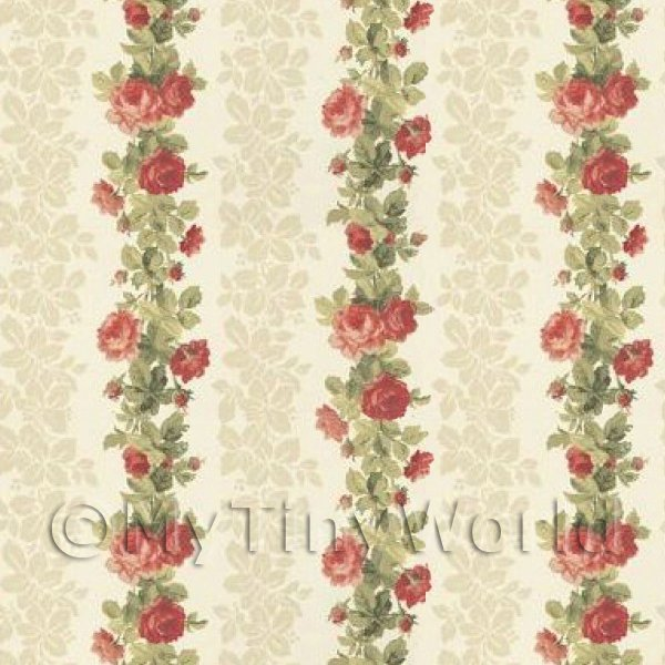 Pack of 5 Dolls House Red Climbing Rose Stripe Wallpaper Sheets