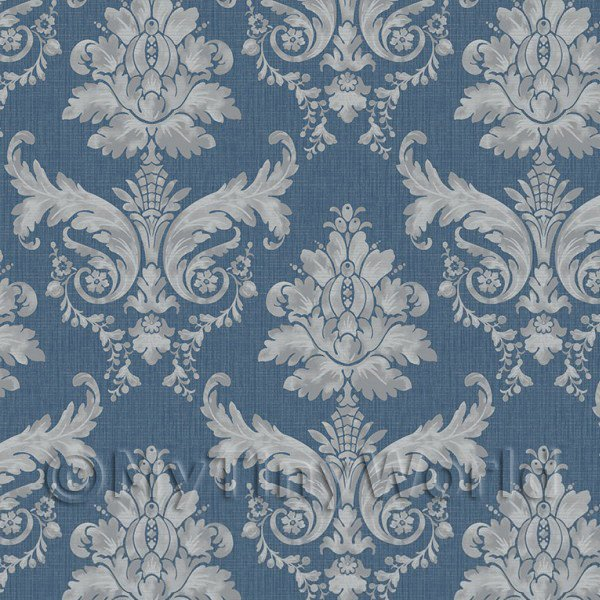 Pack of 5 Dolls House Grey On Blue Leaf Damask Wallpaper Sheets