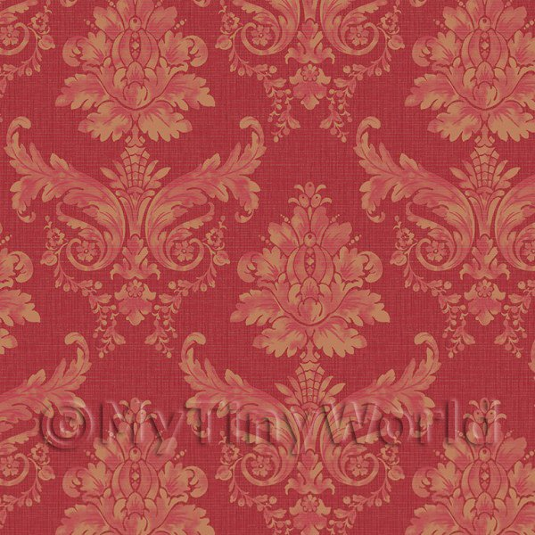 Pack of 5 Dolls House Light Red on Red Leaf Damask Wallpaper Sheets