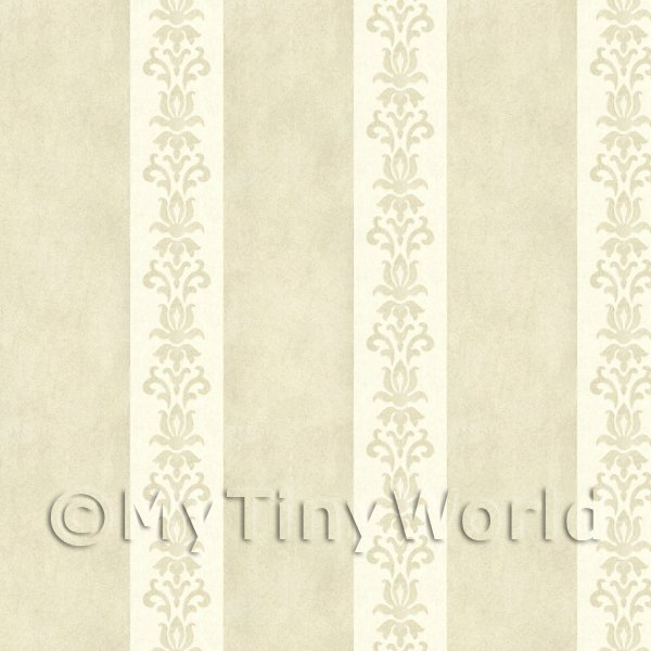 Dolls House Miniature Light Beige Floral Stripe Wallpaper