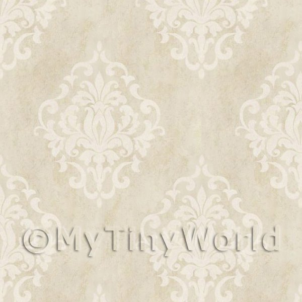 Pack of 5 Dolls House Light Beige Floral Diamond Wallpaper Sheets