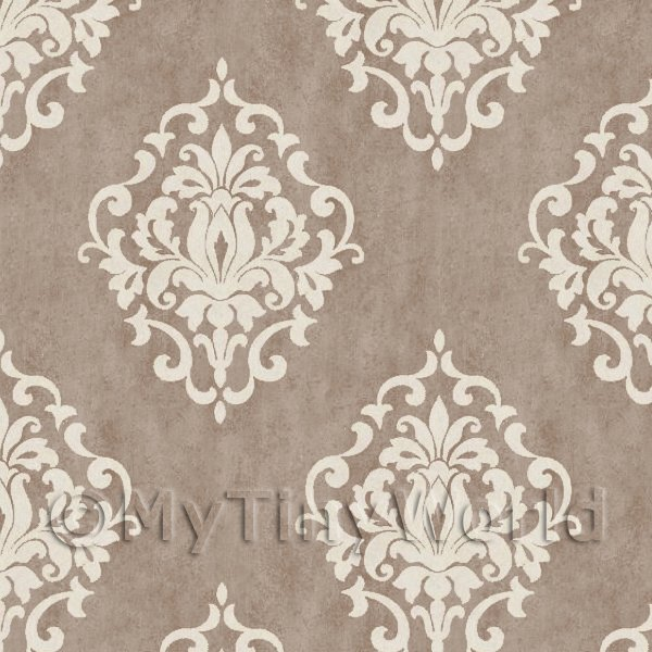 Pack of 5 Dolls House Cocoa Floral Diamond Wallpaper Sheets