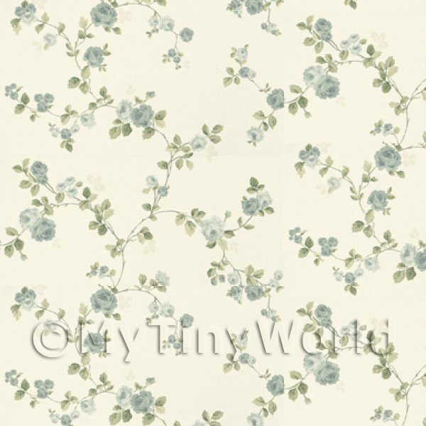 Dolls House Miniature Small Trailing Blue Rose Wallpaper