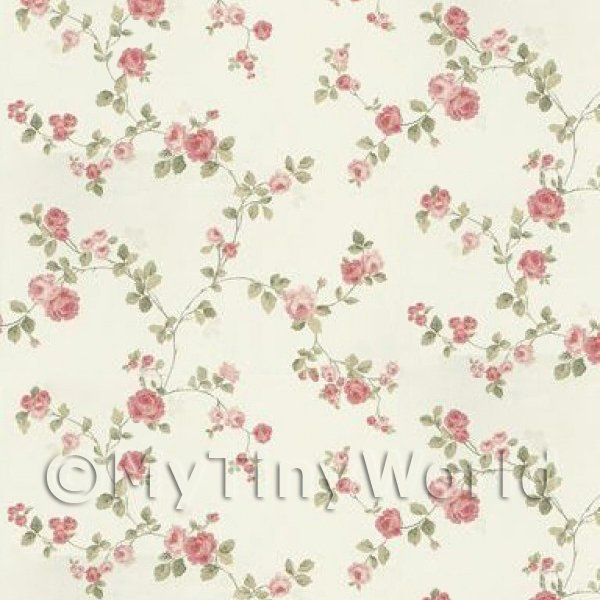 Dolls House Miniature Small Trailing Pink Rose Wallpaper
