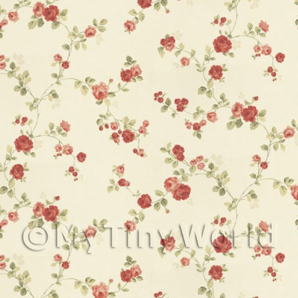 Dolls House Miniature Small Trailing Red Rose Wallpaper
