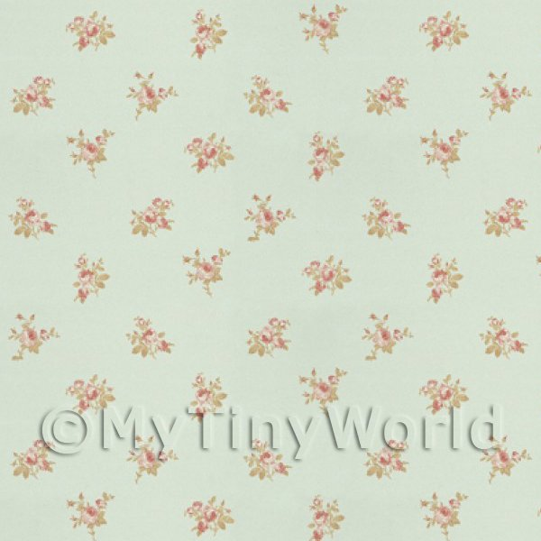 Dolls House Miniature  | Pack of 5 Dolls House Pink Rose Posie On Pale Blue Wallpaper Sheets