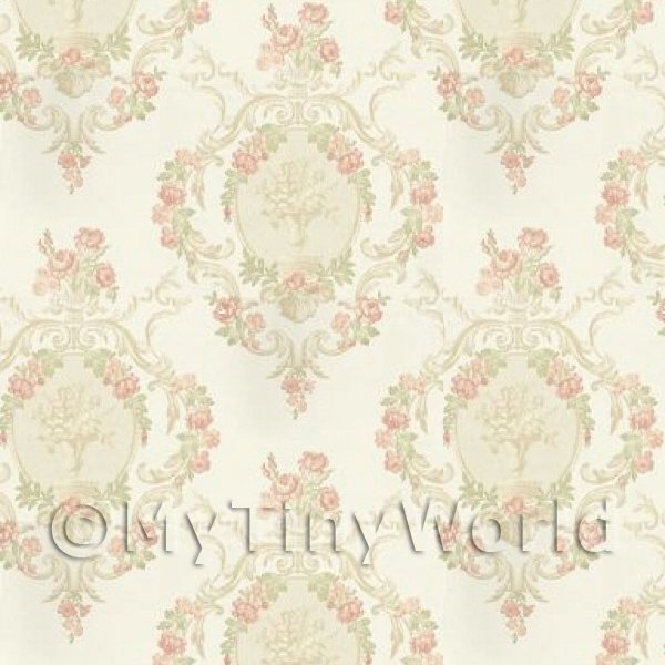 Dolls House Miniature  | Pack of 5 Dolls House Ornate Pink Damask Flower Wallpaper Sheets