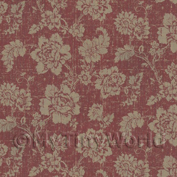 Dolls House Gold Floral Pattern On Burgandy Fabric Style Print Wallpaper