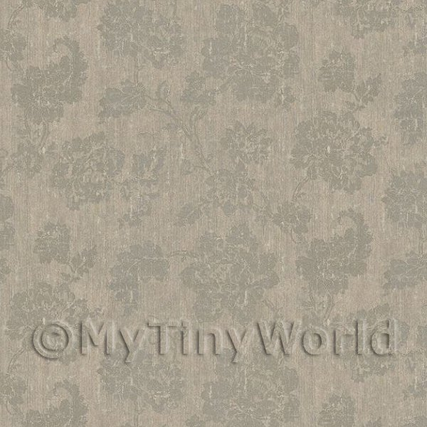 Pack of 5 Dolls House Grey Floral Pattern On Light GreyFabric Style Print Wallpaper