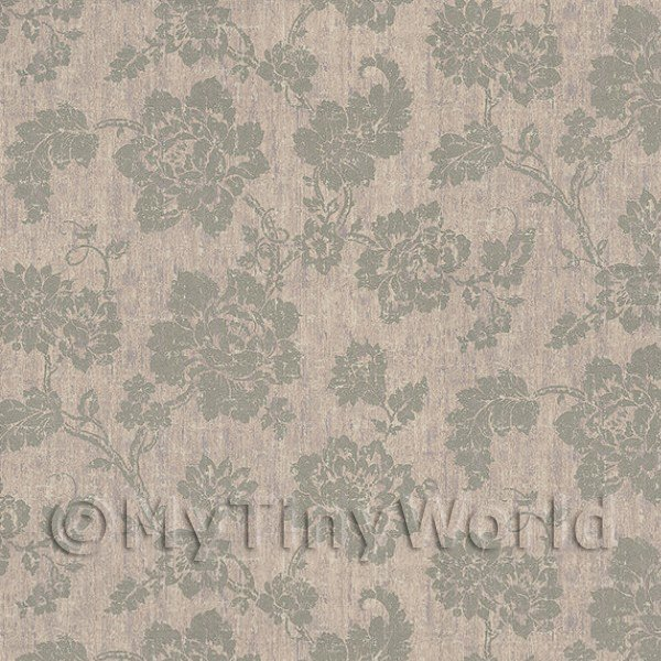 Dolls House Grey Floral Pattern On Fabric Style Print Wallpaper