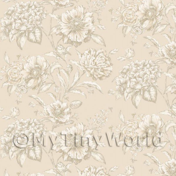 Dolls House Miniature White Mixed Flowers on Cream Wallpaper