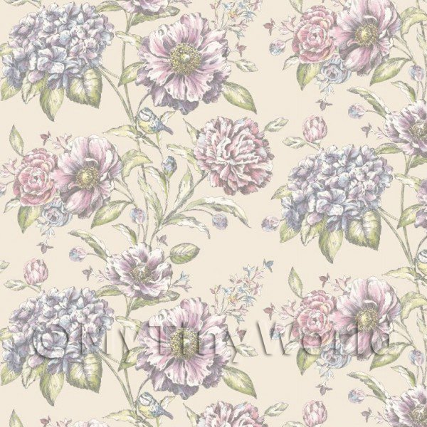 Pack of 5 Dolls House Pink And Violet Mixed Flowers On Cream Wallpaper Sheets