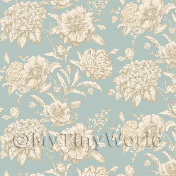 Pack of 5 Dolls House White Mixed Flowers on Duck Egg Blue Wallpaper Sheets