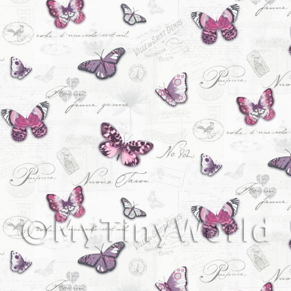 Pack of 5 Dolls House Butterflys On White Wallpaper Sheets
