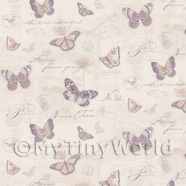 Pack of 5 Dolls House Butterflys On Pale Beige Wallpaper Sheets