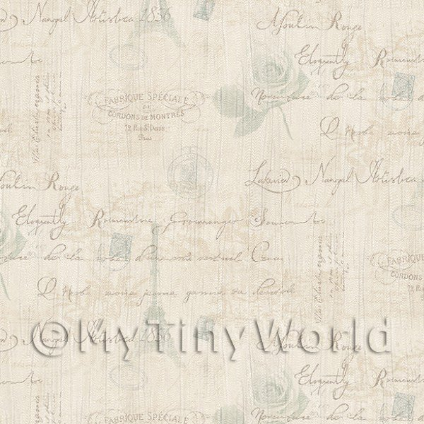 Dolls House Miniature  | Pack of 5 Dolls House Pale Blue And Beige Vintage French Themed Wallpaper Sheets