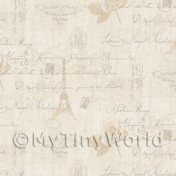 Dolls House Miniature  | Pack of 5 Dolls House Beige Vintage French Themed Wallpaper Sheets