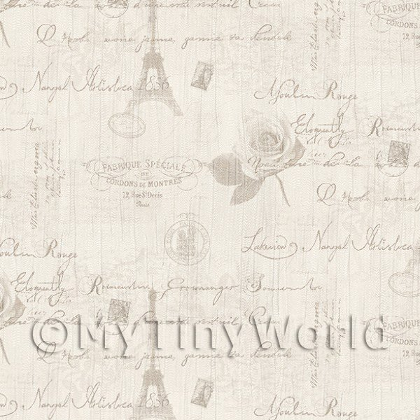 Dolls House Miniature  | Pack of 5 Dolls House Light Grey Vintage French Themed Wallpaper Sheets