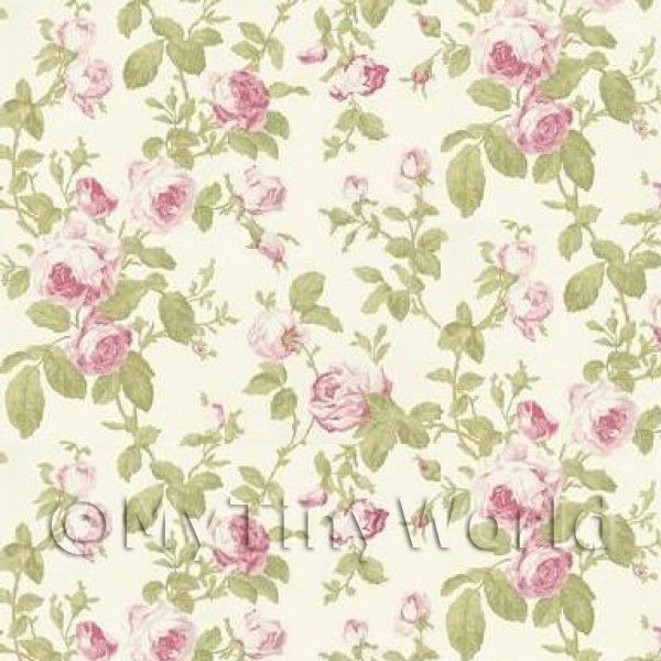 1/12 Scale Dolls House Miniatures  | Pack of 5 Dolls House Pink Vintage Trailing Rose Wallpaper Sheets