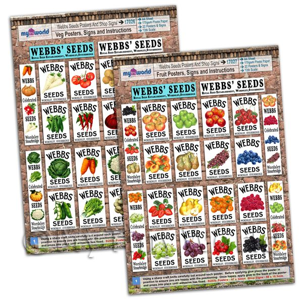 Dolls House Webbs Fruit And Vegetable Posters - 2 x A4 Value Sheets
