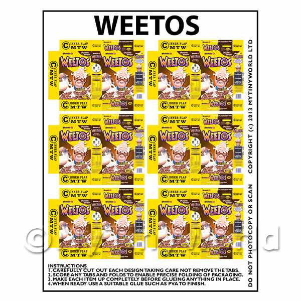 Dolls House Miniature Packaging Sheet 6 of Weetos Boxes