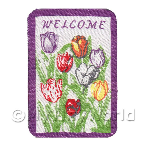Dolls House Miniature  | Dolls House Tulip Decorated Welcome Mat (WM6)
