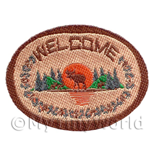 Dolls House Miniature Oval Welcome Mat Forest Design (NW8)