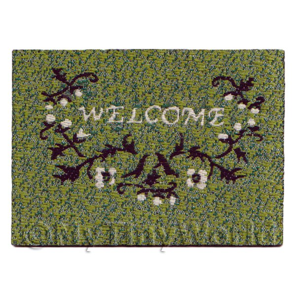 Dolls House Miniature  | Dolls House 58mm Green Welcome Mat With Floral Design (NW18)