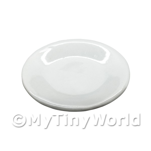 40mm Dolls House Miniature White Glazed Ceramic Plate