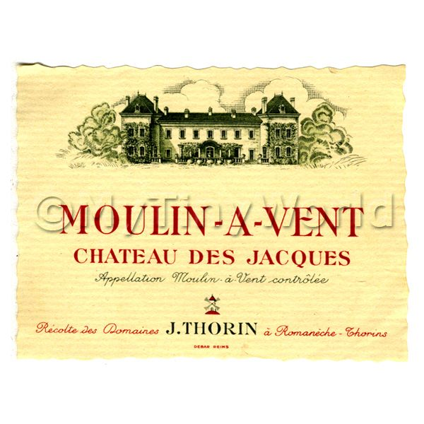 Dolls House Miniature  | Miniature French Moulin a Vent  Red Wine Label