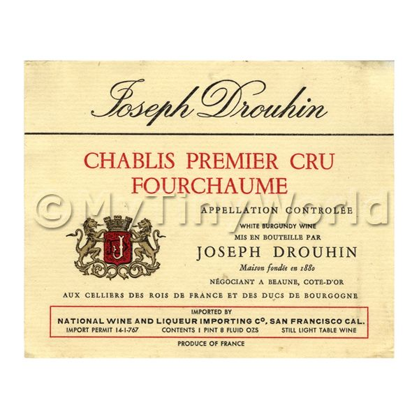 Dolls House Miniature  | Miniature French Chablis Premier Cru Fourchaume White Wine Label
