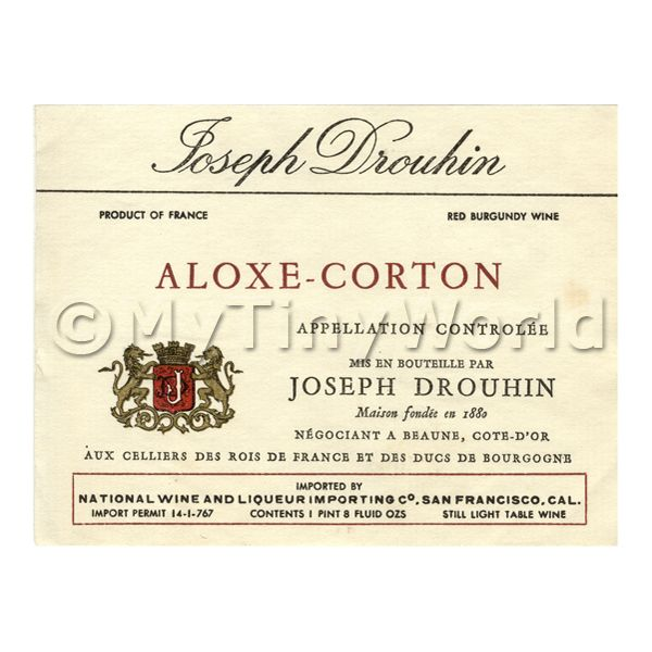 Dolls House Miniature  | Miniature French Aloxe Corton Red Wine Label