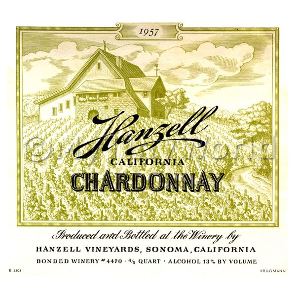 Miniature USA Hangell Chardonnay White Wine Label (1957 Vintage)