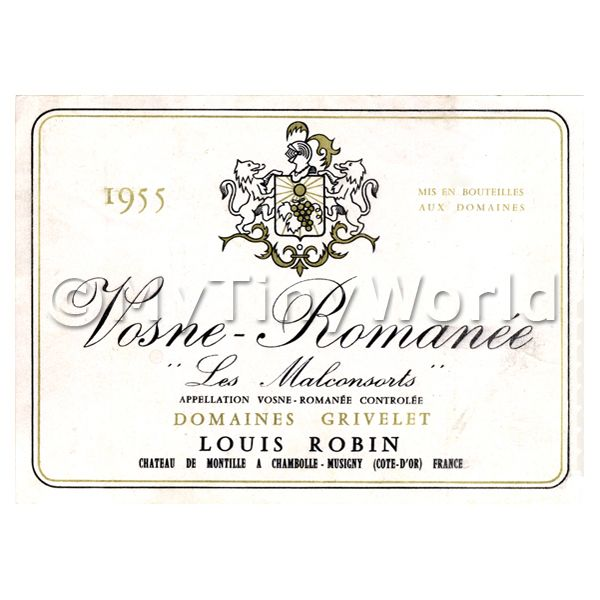 Dolls House Miniature  | Miniature French Vosne Romanee Red Wine Label (1955 Vintage)