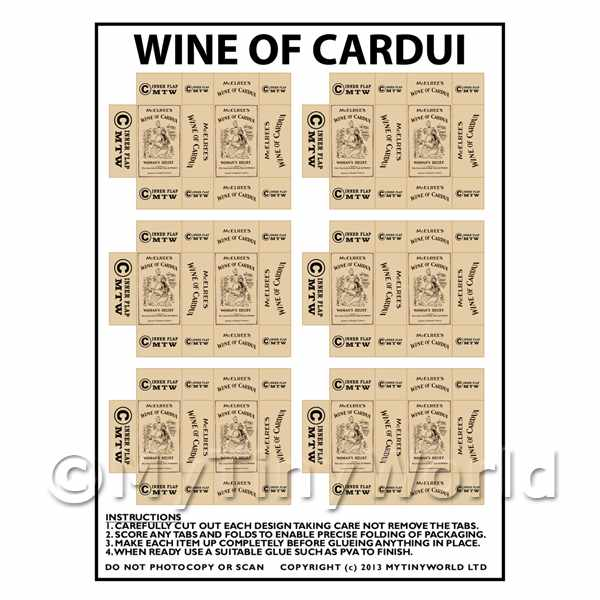 Dolls House Miniature  | Dolls House Miniature Packaging Sheet of 6 Wine of Cardui