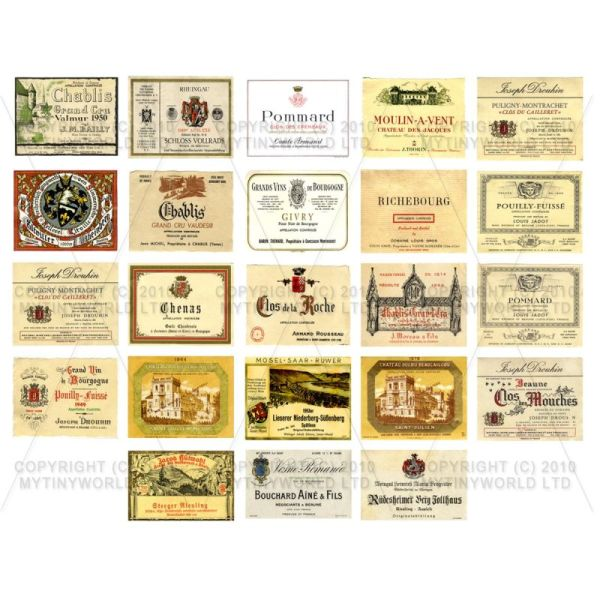 Set of 23 Miniature Assorted Wine Labels - WS01