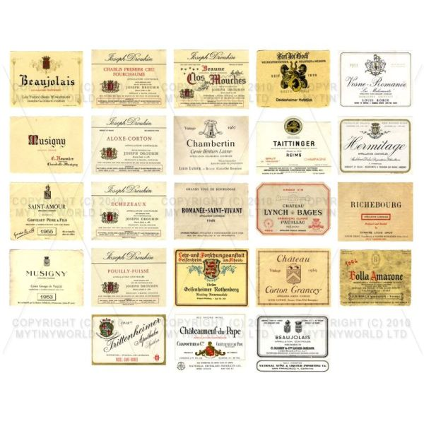 Dolls House Miniature  | Set of 23 Miniature Assorted Wine Labels - WS02