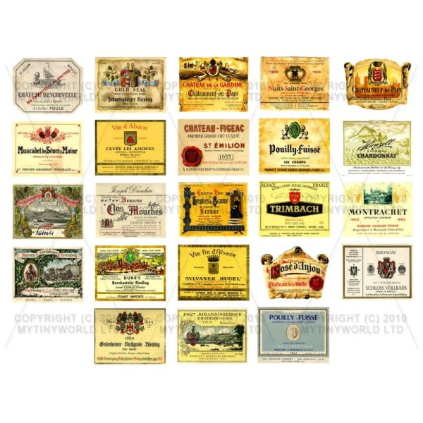 Dolls House Miniature  | Set of 23 Miniature Assorted Wine Labels - WS03