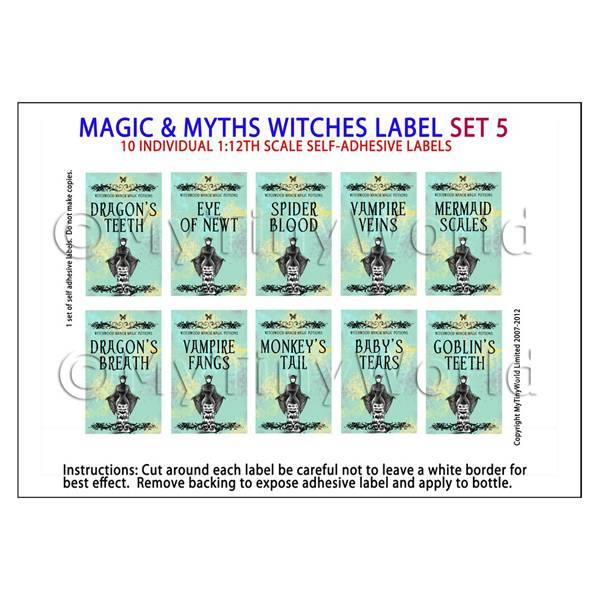 Dolls House Miniature Myth And Magic Label Set 5