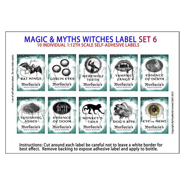 1/12 Scale Dolls House Miniatures  | Dolls House Miniature Myth And Magic Label Set 6