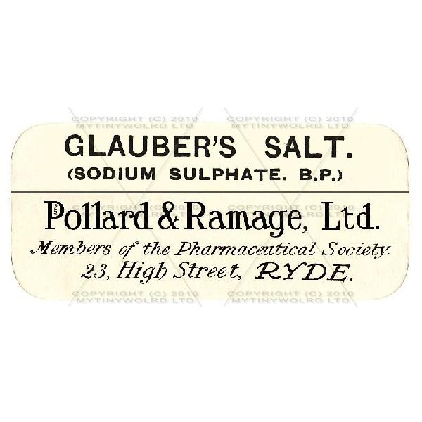 Dolls House Miniature  | Glaubers Salt Miniature Apothecary Label