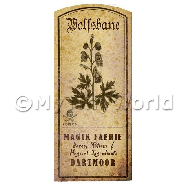 Dolls House Miniature  | Dolls House Herbalist/Apothecary Wolfsbane Herb Short Sepia Label