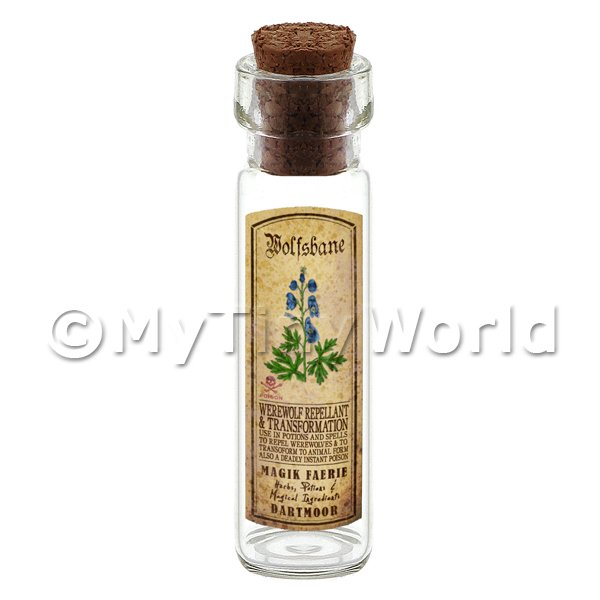 Dolls House Apothecary Wolfsbane Herb Long Colour Label And Bottle