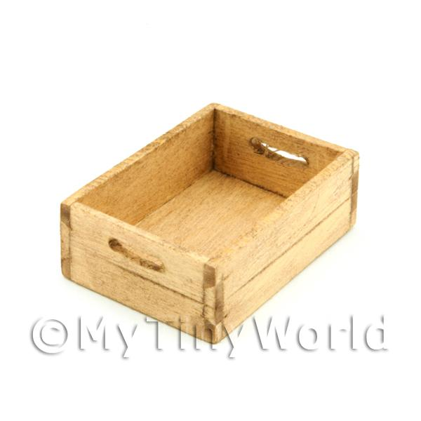 Dolls House Miniature Aged Wood Small Bottle Crate